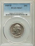 Washington Quarters, 1969-D 25C MS67 PCGS. PCGS Population: (98/8). NGC Census: (172/4). CDN: $65 Whsle. Bid for problem-free NGC/PCGS MS67. Min...