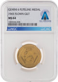 Explorers:Space Exploration, Gemini 6A Flown MS64 NGC Gold Fliteline Medallion Directly From The Armstrong Family Collection™, Certified and Encapsulat...