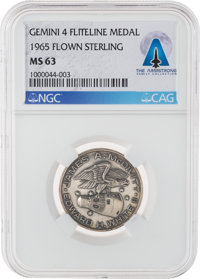 Gemini 4 Flown MS63 NGC Sterling Silver Fliteline Medallion Directly From The Armstrong Family Collection™, Certif