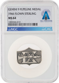 Gemini 9A Flown MS64 NGC Sterling Silver Fliteline Medallion Directly From The Armstrong Family Collection™, Certi