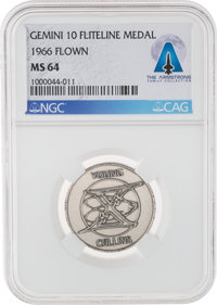 Gemini 10 Flown MS64 NGC Silver Fliteline Medallion Directly From The Armstrong Family Collection™, Certified and