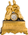 Clocks & Mechanical:Clocks, A French Gilt and Patinated Bronze Figural Mantel Clock, circa 1840. Marks to clock face: VUILLEMIN A PARIS. 20-1/4 x 15...