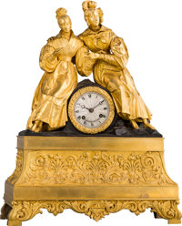 A French Gilt and Patinated Bronze Figural Mantel Clock, circa 1840 Marks to clock face: VUILLEMIN A PARIS<