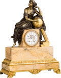 Timepieces:Clocks, A Large Empire-Style Gilt and Patinated Bronze Figural Mantel Clock on Sienna Marble Base, late 19th-early 20th century. 26-...