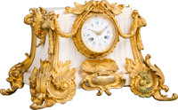 A Raingo Freres Napoleon III Gilt Bronze and Marble Pedestal Clock, late 19th century Marks to clock face: RAIN
