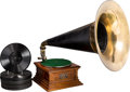 Decorative Arts, American, A Victor Talking Machine Company Type M Phonograph, Camden, NewJersey, circa 1902. 27-1/4 x 31-1/2 x 20 inches (69.2 x 80.0...(Total: 3 Items)