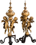 Decorative Arts, French:Other , A Large Pair of Napoleon III Gilt Bronze and Iron Figural ...