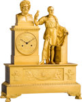 Clocks & Mechanical:Clocks, A Fine French Empire Gilt Bronze Classical Mantel Clock Depicting Plato and Euripides, probably Paris, circa 1820. 23-3/4 x ...