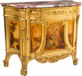 Furniture , A French Fin de Siècle Vernis Martin Painted and Giltwood Side Cabinet with Marble Top, late 19th-early 20th century . 36-3/... (Total: 2 Items)