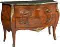 Furniture : French, A French Louis XV-Style Marquetry Inlaid and Gilt-Bronze Mounted Bombé Commode with Marble Top, late 19th century . 33-3/4 x... (Total: 2 Items)
