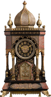 A Three-Piece French Orientalist Partial Gilt Marble, Slate, and Bronze Clock Garniture in the Moorish Taste, late 19