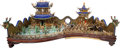 Asian:Chinese, A Large and Impressive Chinese Gilt Silver, Bronze, Enamel, Jade,Coral, and Hardstone Tea House and Pavilion Diorama, 20th ...