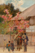 Fine Art - Painting, European, Alfred East (British, 1849-1913). Springtime Japan. Oil on panel. 9-1/2 x 6-1/2 inches (24.1 x 16.5 cm). Signed lower ri...