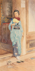 Fine Art - Work on Paper, Charles Edwin Fripp (British, 1854-1906). A Japanese Girl, Kyoto. Watercolor on board. 13-3/4 x 6-3/4 inches (34.9 x 17....