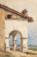 Works on Paper, Christian Jorgensen (American, 1860-1935). Adobe Archway, California Mission, 1903. Watercolor on paper. 14-1/2 x 9-1/2 ...