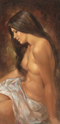 Fine Art - Painting, American, Leo Jansen (American, 1930-1980). Brunette Nude. Oil oncanvas. 30 x 14-3/4 inches (76.2 x 37.5 cm). Signed lower right:...