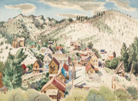 Milford Zornes (American, 1908-2008) Silver City, Idaho, 1950 Watercolor on paper 20-1/2 x 28 inc