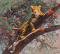 Fine Art - Painting, American, A. John Pelletier (American, 20th Century). Leopard SunBathing. Oil on canvas. 38 x 42 inches (96.5 x 106.7 cm).Signed...