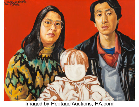 Jinsong Wang (Chinese, b. 1963)One Child Policy Series No. 4, 1996Acrylic on canvas15 x 19-1/2 inches (38.1 x 49.5...