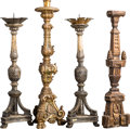 Decorative Arts, Continental:Other , A Group of Four Carved Wood Candle Holders and Pricket Sticks, 18thcentury and later. 31-1/2 x 9 x 8-1/2 inches (80.0 x 22.... (Total:4 Items)