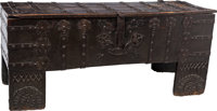 An English Medieval Oak Coffer with Hand-Forged Iron Hardware, 16th century 32-1/2 x 74 x 25-1/2 inches (82.6 x 1