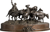 After Evgeny Alexandrovich Lanceray (Russian) Cossack Herding Horses, circa 1920 Bronze with brown p