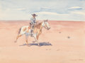 Works on Paper, Leonard Howard Reedy (American, 1899-1956). Following a Trail. Watercolor on paper. 8 x 10-3/4 inches (20.3 x 27.3 cm) (...
