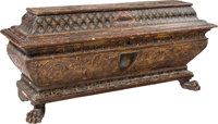 An Italian Renaissance-Style Carved and Polychromed Wood Cassone, 19th century 27-3/4 x 62 x 20-1/2 inches (70.5 x