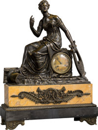 An Empire-Style Patinated Bronze and Sienna Marble Figural Mantel Clock, circa 1900 24-1/2 x 18-1/4 x 6-3/4 inches