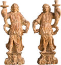 Decorative Arts, Continental:Other , A Pair of Italian Carved Wood Figural Candle Holders