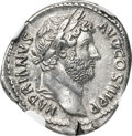 Ancients:Roman Imperial, Ancients: Hadrian (AD 117-138). AR denarius (18mm, 3.47 gm, 6h).NGC AU ★ 5/5 - 5/5, Fine Style....