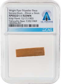 Apollo 11 Lunar Module Flown Piece of the Wright Flyer's Propeller, Flown as Part of the First Successful Powered Flight...