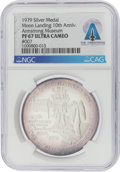 Explorers:Space Exploration, Apollo 11: Tenth Anniversary Silver Medal #007, PF67 Ultra Cameo NGC, Issued by the Armstrong Air & Space Museum in Wapakoneta...