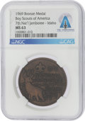Explorers:Space Exploration, Boy Scouts: 1969 Boy Scouts of America 7th National Jamboree Bronze Medal, MS63 NGC, Directly From The Armstrong Family Co...
