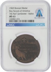 Boy Scouts: 1969 Boy Scouts of America 7th National Jamboree Bronze Medal, MS63 NGC, Directly From The Armstrong F