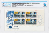 """Neil Armstrong Signed """"First Man On The Moon"""" Plate Block First Day Cover Directly From The Armstrong Family C..."""