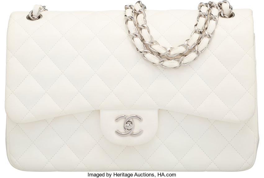 348f54241124 Luxury Accessories:Bags, Chanel White Quilted Lambskin Jumbo Double Flap  Bag with SilverHardware.