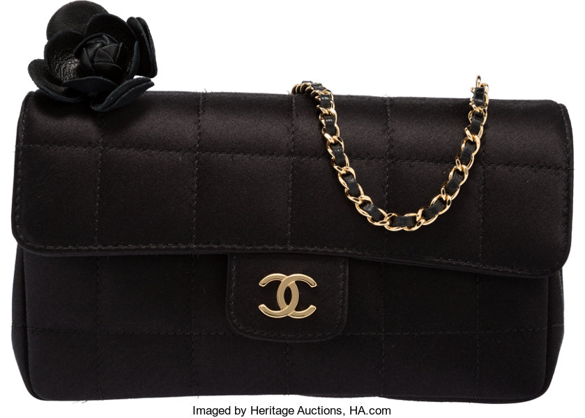 7b3097f6eecd ... Luxury Accessories:Bags, Chanel Black Quilted Satin Mini Flap Bag with Camellia  Flower andGold ...
