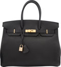 "Luxury Accessories:Bags, Hermes 35cm Black Togo Leather Birkin Bag with Gold Hardware . H Square, 2004. Condition: 3. 14"" Width x 10"" Heigh..."