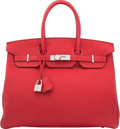 Luxury Accessories:Bags, Hermes 35cm Rouge Casaque Togo Leather Birkin Bag with PalladiumHardware. A, 2017. Condition: 1