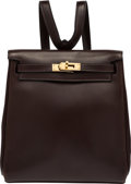 """Luxury Accessories:Bags, Hermes 20cm Cafe Calf Box Leather Kelly Ado Backpack Bag with Gold Hardware. E Square, 2001. Condition: 3. 7.5"""" Wi..."""