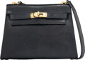 Luxury Accessories:Bags, Hermes 20cm Black Salvator Lizard Mini Sellier Shoulder Kelly Bag with Gold Hardware. Circa 1980. Condition: 3. 7....