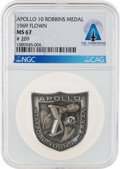 Explorers:Space Exploration, Apollo 10 Flown MS 67 NGC Silver Robbins Medallion, Serial Number 269, Directly From The Armstrong Family Collection™, Certifi...