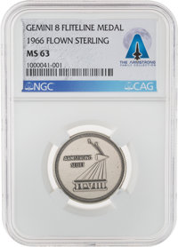 Gemini 8 Flown MS63 NGC Silver Fliteline Medallion Directly From The Armstrong Family Collection™, Certified and Encapsu...