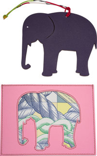 """Hermes Set of Two: Petit H Elephant Charm & Pochette Condition: 1 5.5"""" Width x 5"""" Height<"""