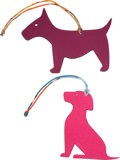 """Luxury Accessories:Accessories, Hermes Set of Two: Petit H Multicolor Epsom & Togo Leather Dog Charms . Condition: 1. 5"""" Width x 4"""" Height. 3.5"""" W... (Total: 2 )"""