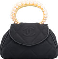 """Luxury Accessories:Bags, Chanel Black Quilted Satin Evening Bag with Faux Pearl Accents& Gold Hardware. Condition: 3. 8"""" Width x 5"""" Height x2..."""
