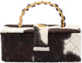 """Luxury Accessories:Bags, Chanel Cowhide Fur Box Bag with Gold Hardware. Condition: 3. 8.5"""" Width x 3.5"""" Height x 4"""" Depth. ..."""