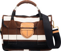 """Prada Brown, Black, & White Striped Canvas Bag with Gold Hardware Condition: 3 11"""" Width x 8"""" Hei"""