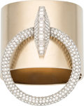 """Luxury Accessories:Accessories, Chanel Light Gold Cuff Bracelet with Crystal Ring. Condition: 3. 6.5"""" Circumference. ..."""